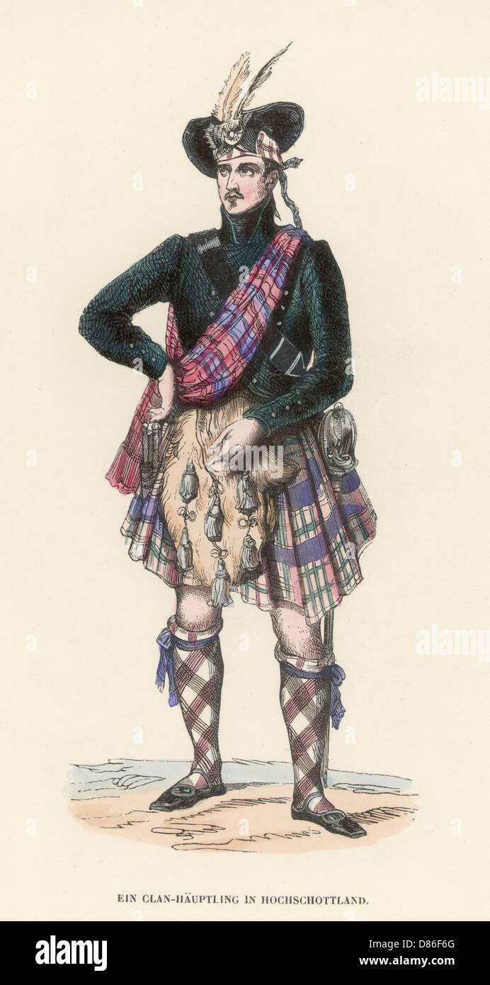 Man In Scottish Highland National Dress Stock Photo