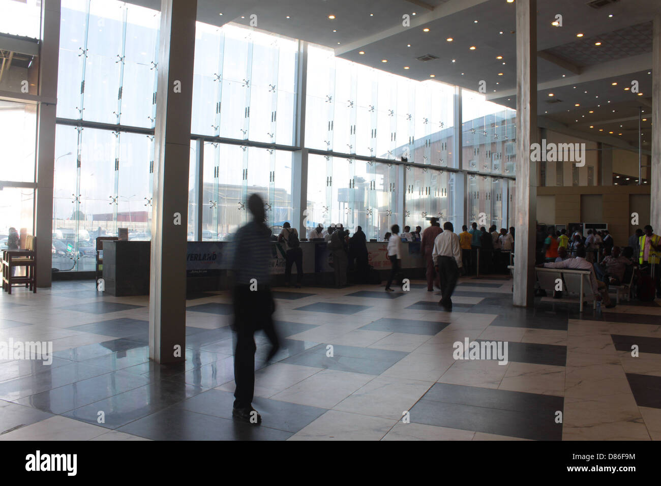 Departure hall of the Murtala Muhammed domestic terminal, Ikeja, Lagos. - Stock Image