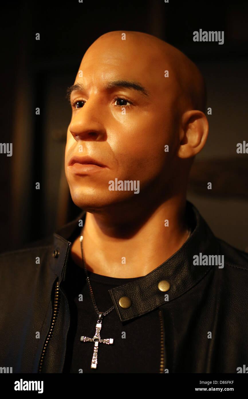 A wax figure of Vin Diesel. - Stock Image