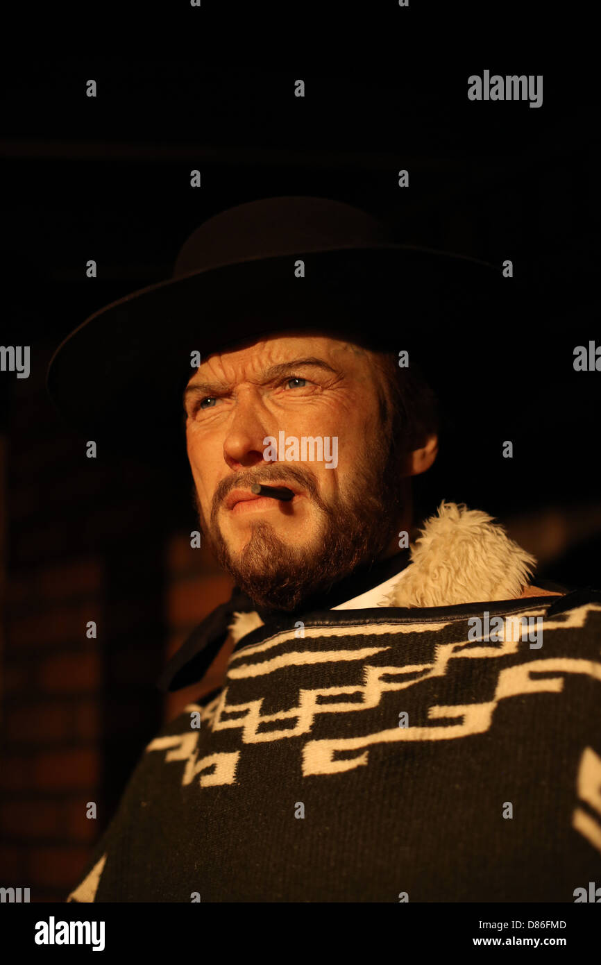 A wax figure of Clint Eastwood. - Stock Image