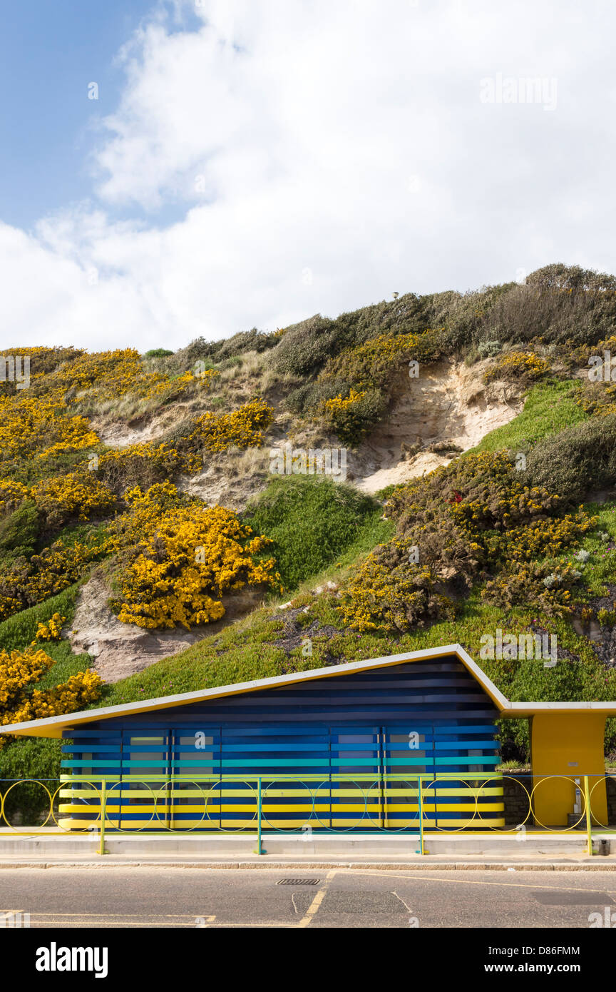 View of beach huts for disabled poeple available for hire on Boscombe seafront with cliffs behind - Stock Image