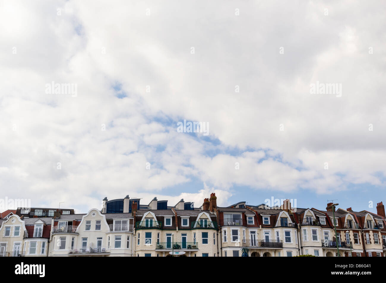 Row of rooftops of Guest Houses in Boscombe, Bournemouth - Stock Image
