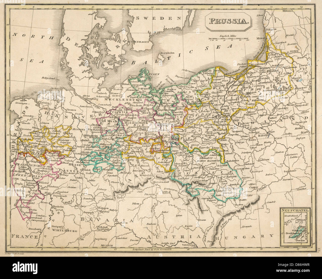map europe germany 1827 stock image