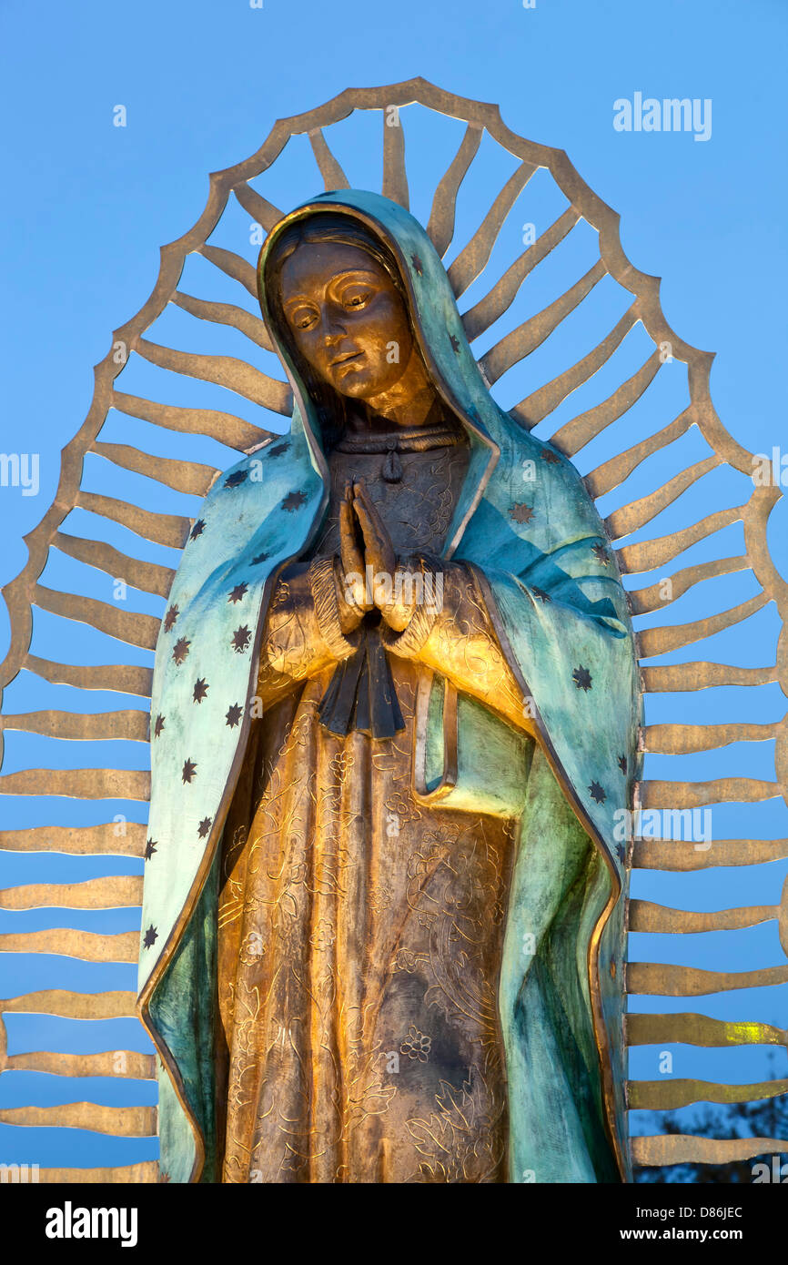 Statue of Our Lady of Guadalupe, Santuario de Guadalupe Church (1781), Santa Fe, New Mexico USA - Stock Image