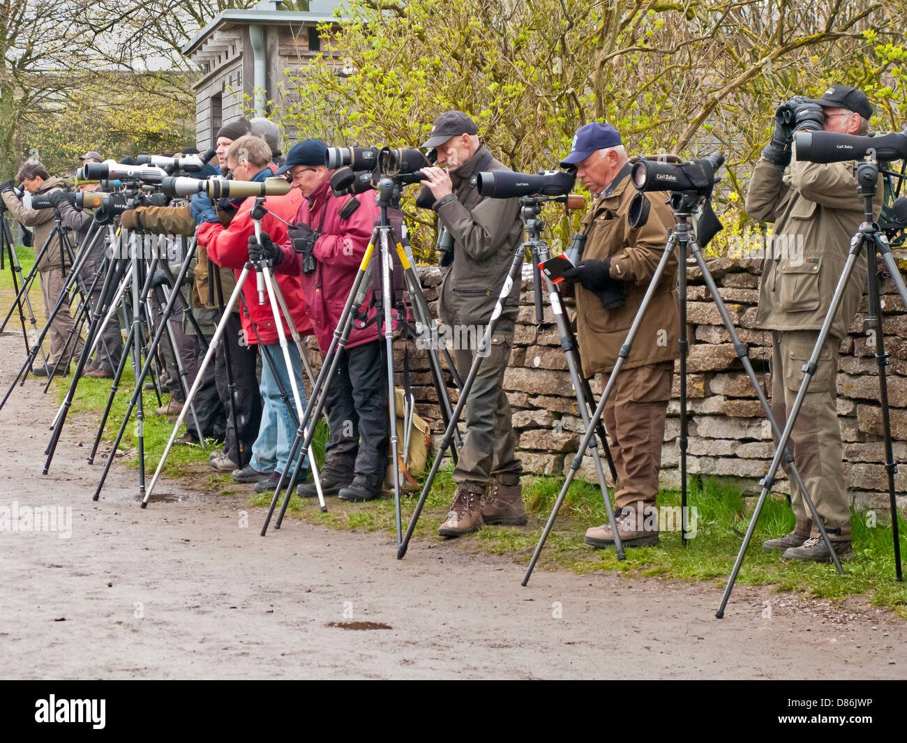 Enthusiasts watching birds with telescopes, binoculas  and  spy-glasses, Island Oland Sweeden Scandinavia - Stock Image