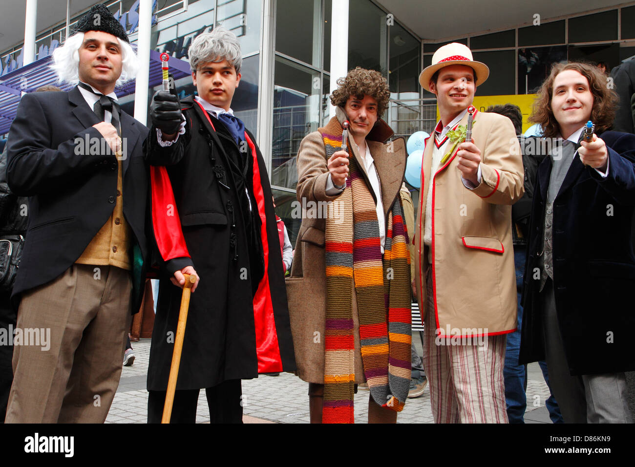 Fans of the British science fiction television series Dr Who dressed as various incarnations of the character - Stock Image