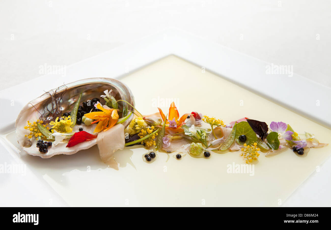 Beautiful white plate back lit with Abalone appetizer served at the Post Ranch Inn California by Melissa Barnes - Stock Image