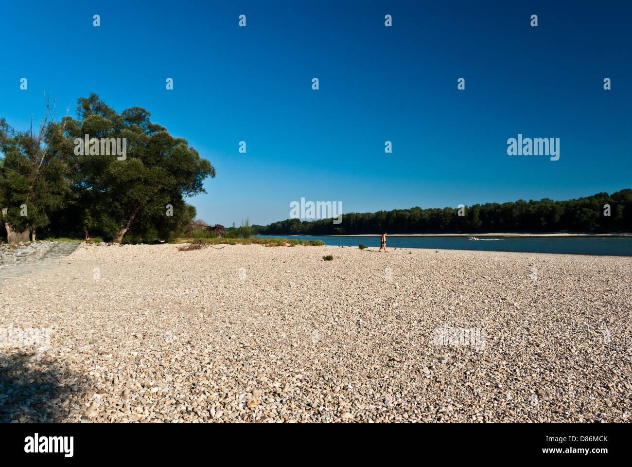 Stony beach at Danube river bank, 20km downstream from Vienna Stock Photo