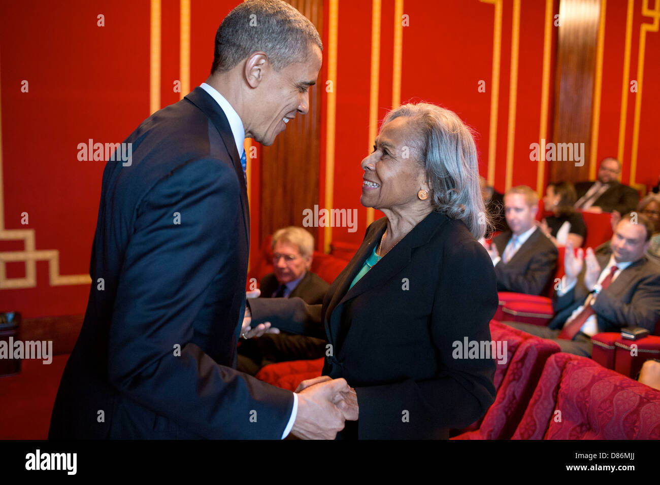 "US President Barack Obama talks with Rachel Robinson before the screening of the movie ""42"" with Robinson family - Stock Image"