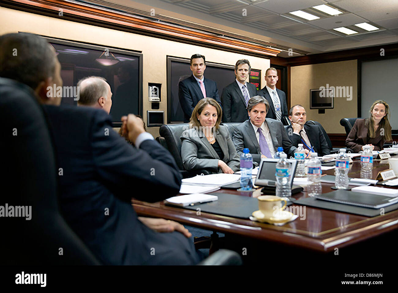 US President Barack Obama attends a meeting in the Situation Room of the White House April 2, 2013 in Washington, - Stock Image