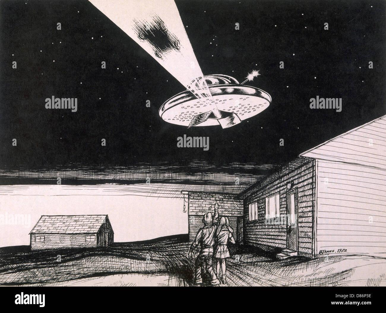 Ufo Car Abduction - Stock Image