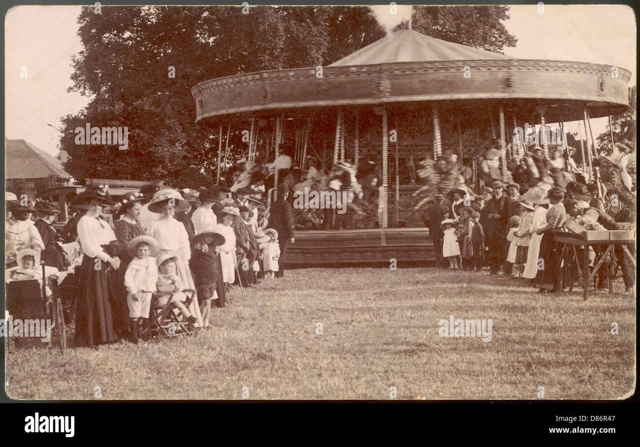 Postcard Of Carousel - Stock Image