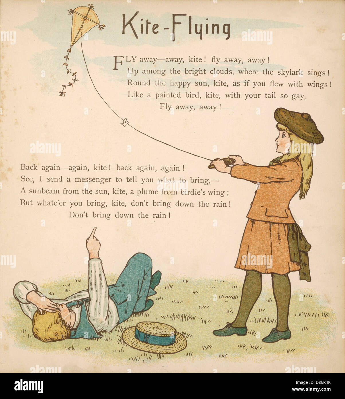 1886 Kite Flying - Stock Image