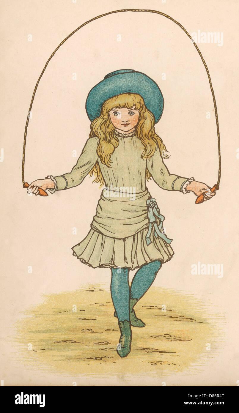 Girl Skipping 1886 - Stock Image