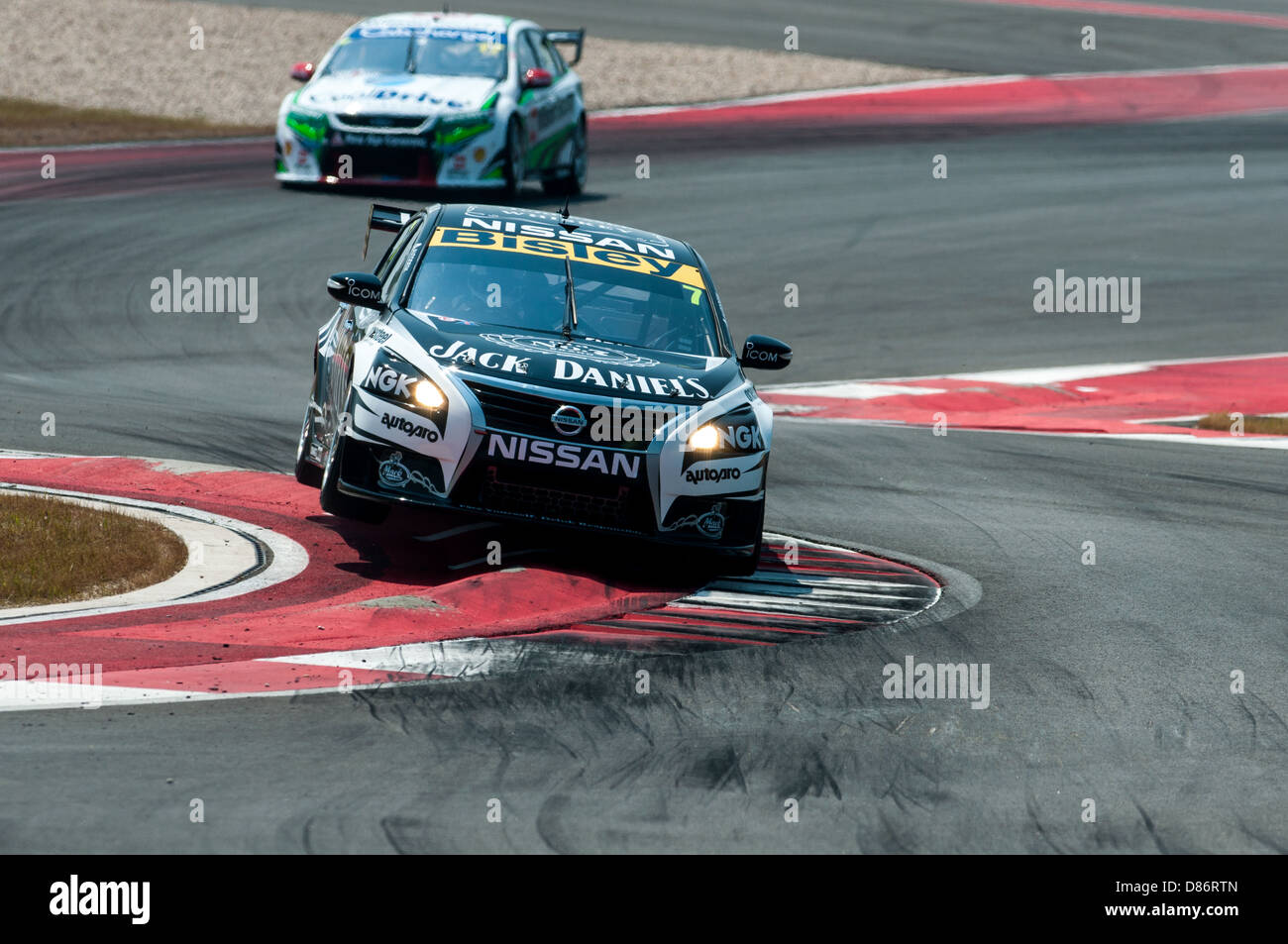 Todd Kelly of V8 Supercars team Motorsport Holdings hits the curb during V8 Supercars racing at Circuit of the Americas, - Stock Image