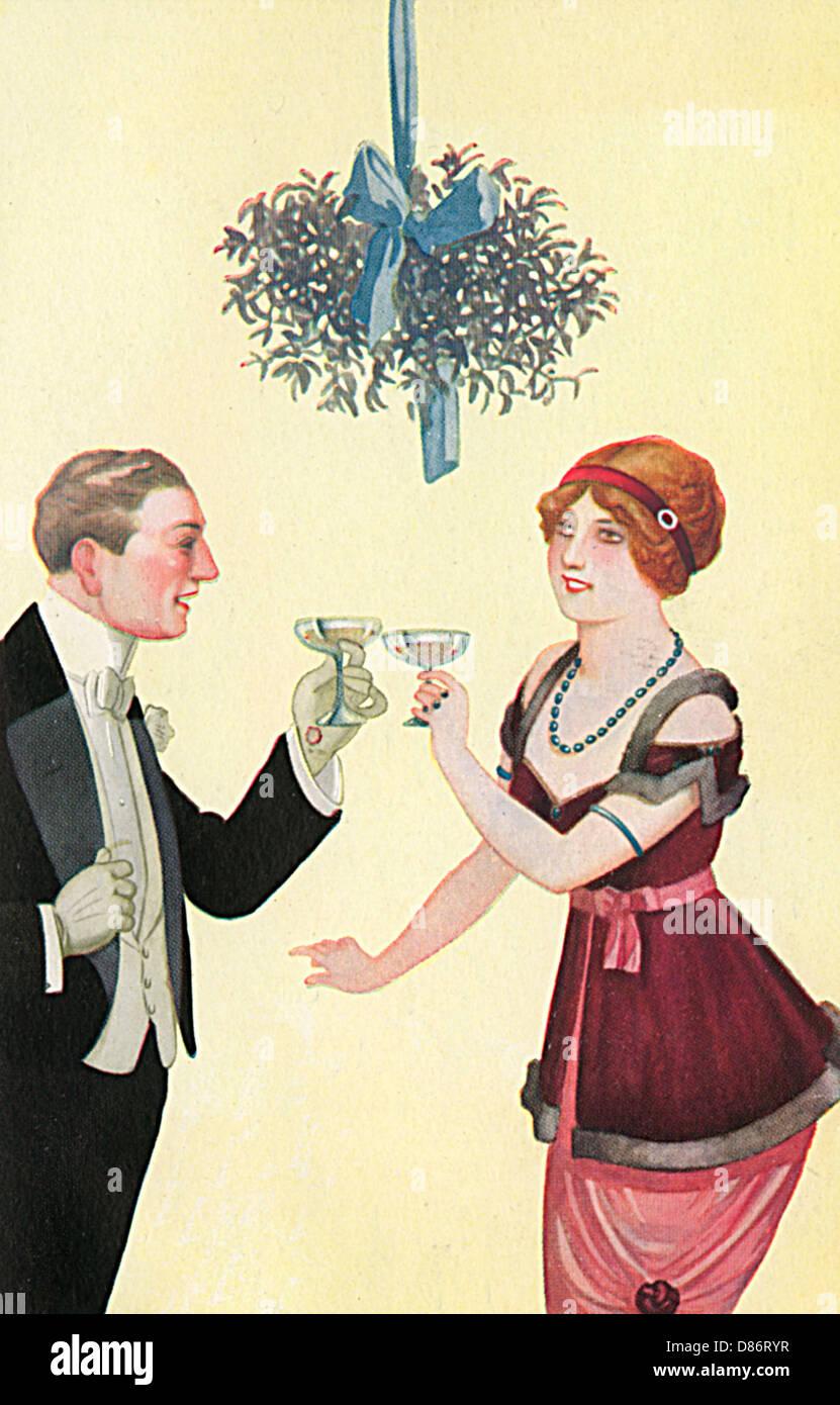 Champagne Mistletoe - Stock Image