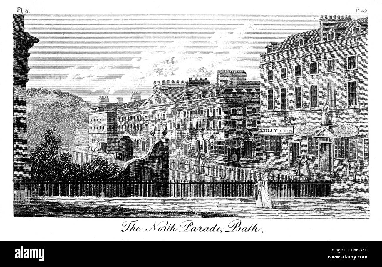 Bath North Parade 1803 - Stock Image
