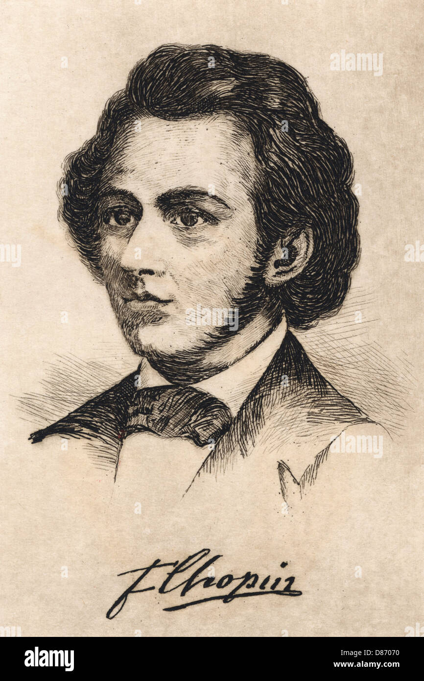 Chopin Anon Etching - Stock Image