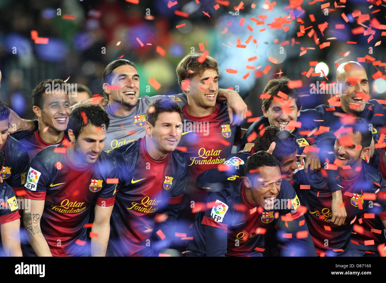 19.05.2013 Barcelona, Spain. Barcelona's players during the celebration of the league championship 2012/13 at - Stock Image