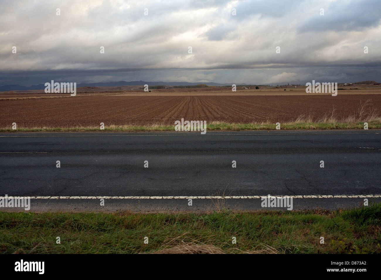 The Way of St. James, parallel to the local road - Stock Image