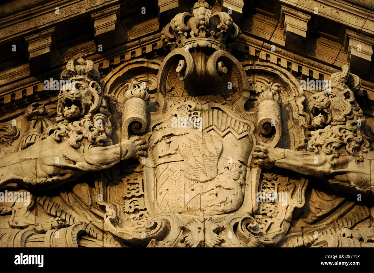 Germany. Munich. The Justizpalast Munich (Palace of Justice). Neo-Baroque style. Facade. Escutcheon. - Stock Image