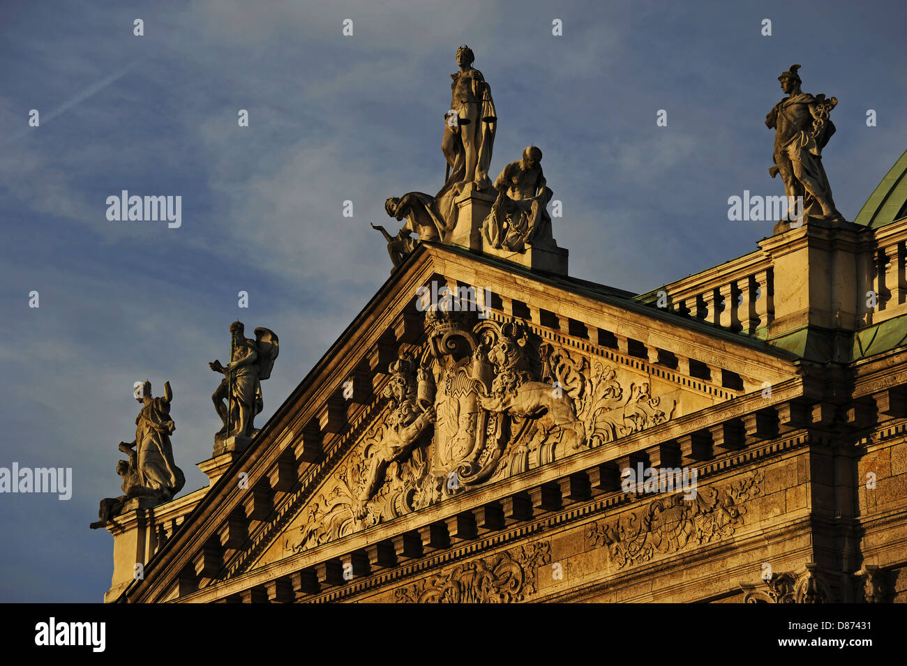 Germany. Munich. The Justizpalast Munich (Palace of Justice). Neo-Baroque style. Facade. Carved pediment. - Stock Image