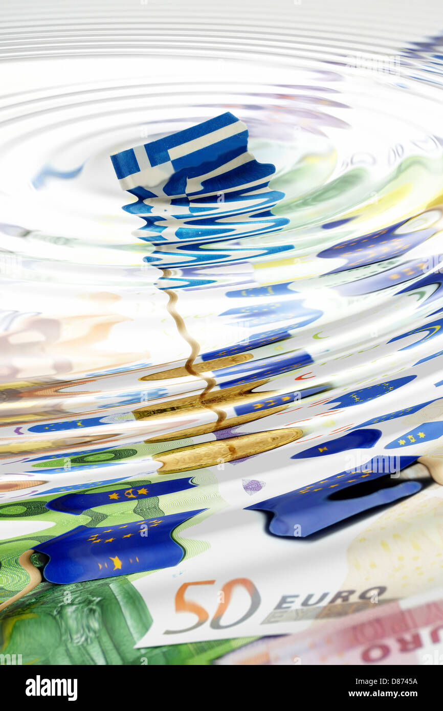 Submerging Greek flag in sea of Euro Debt - Stock Image