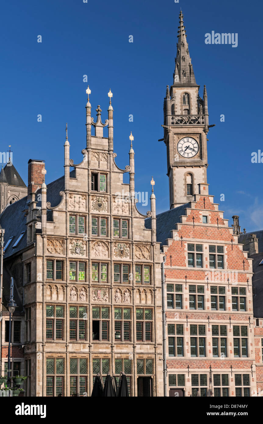 Guild houses and Post Plaza Tower on the Graslei Ghent Belgium - Stock Image
