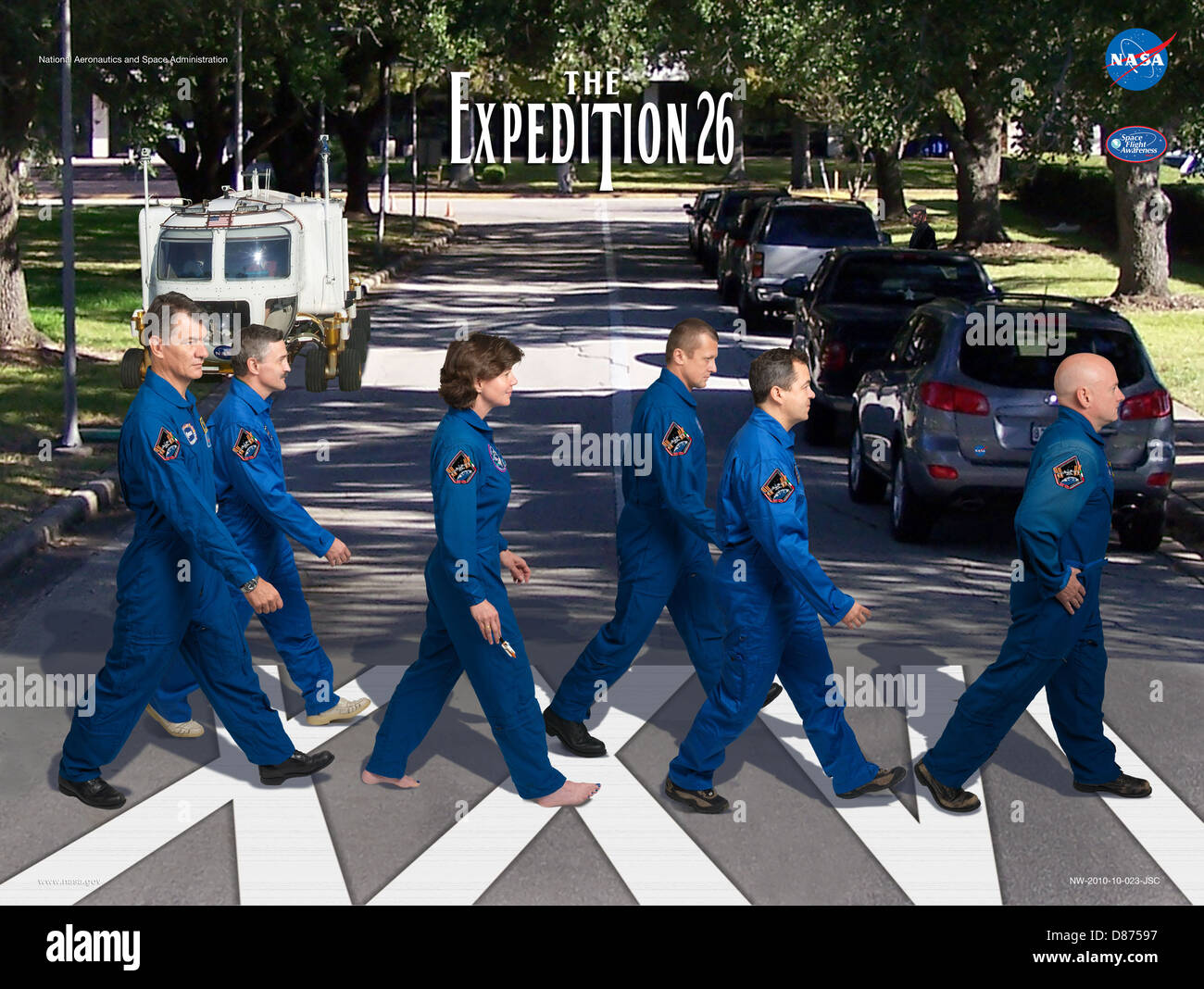 Expedition 26 Abbey Road crew poster.jpg - Stock Image