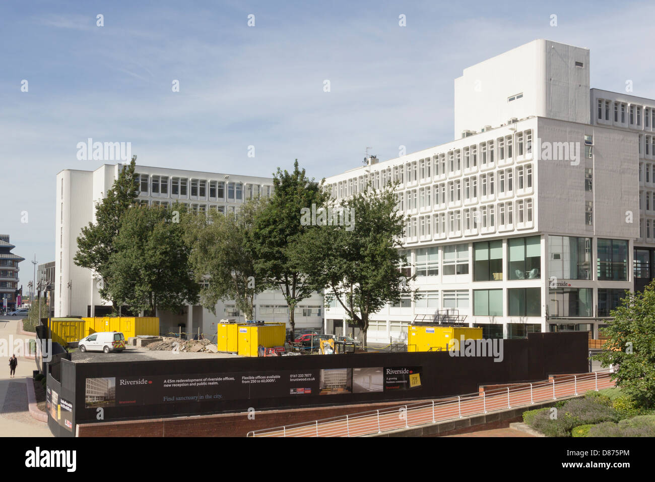 Riverside office building, owned  Bruntwood Ltd. Work in progress to build a new reception area and improve the - Stock Image