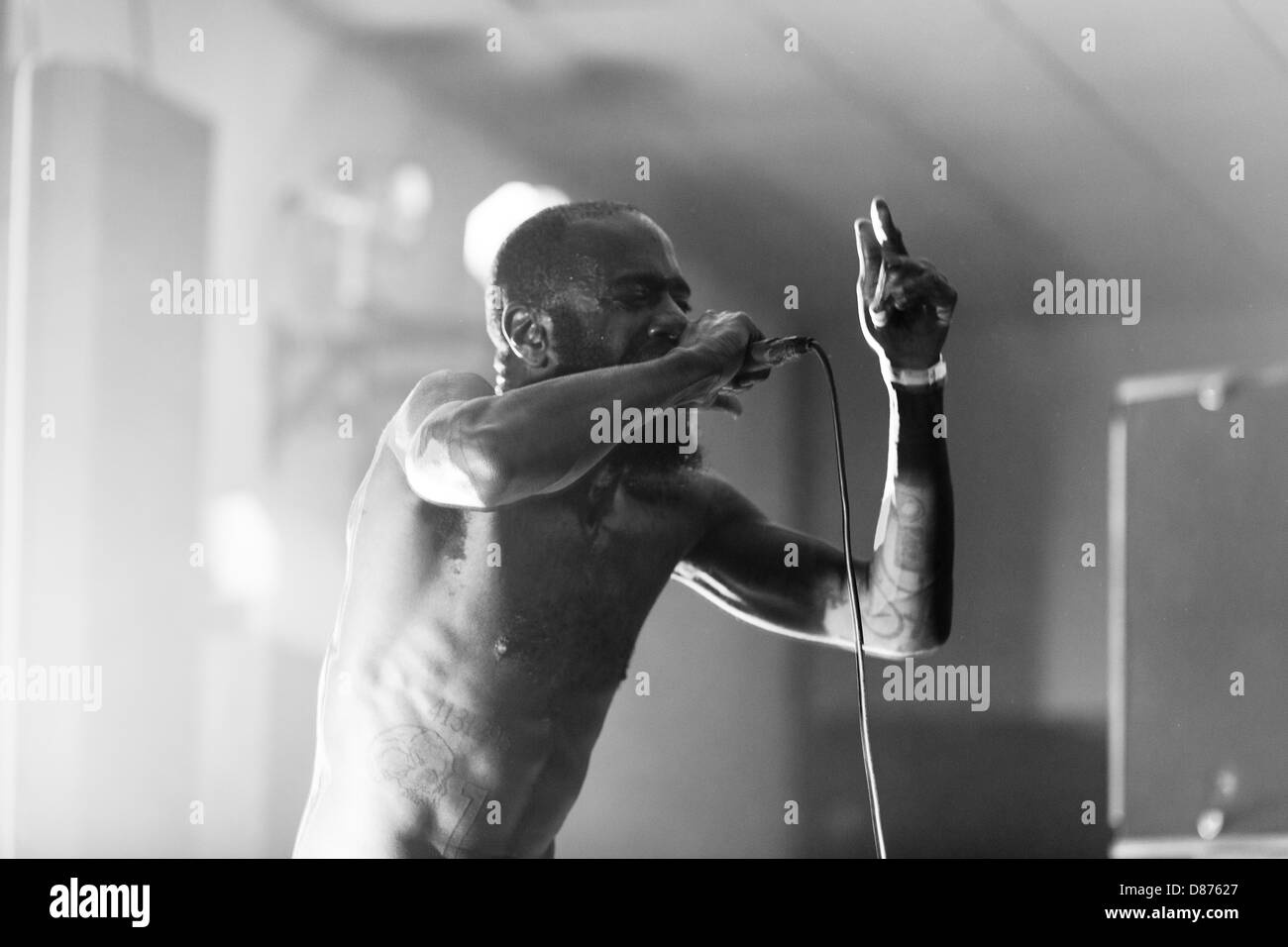 Death Grips performing at All Tomorrows Parties, Pontins, Camber Sands, Rye, West Sussex, England, United Kingdom. - Stock Image