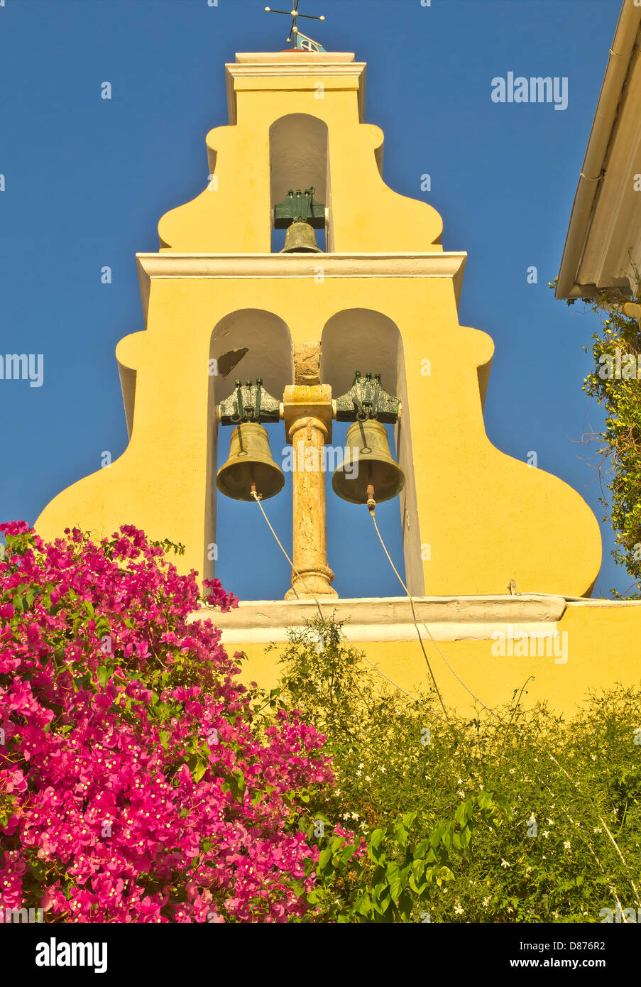 Monastry front architectural element and bells near Paleokastristas, Corfu Island, Greece - Stock Image