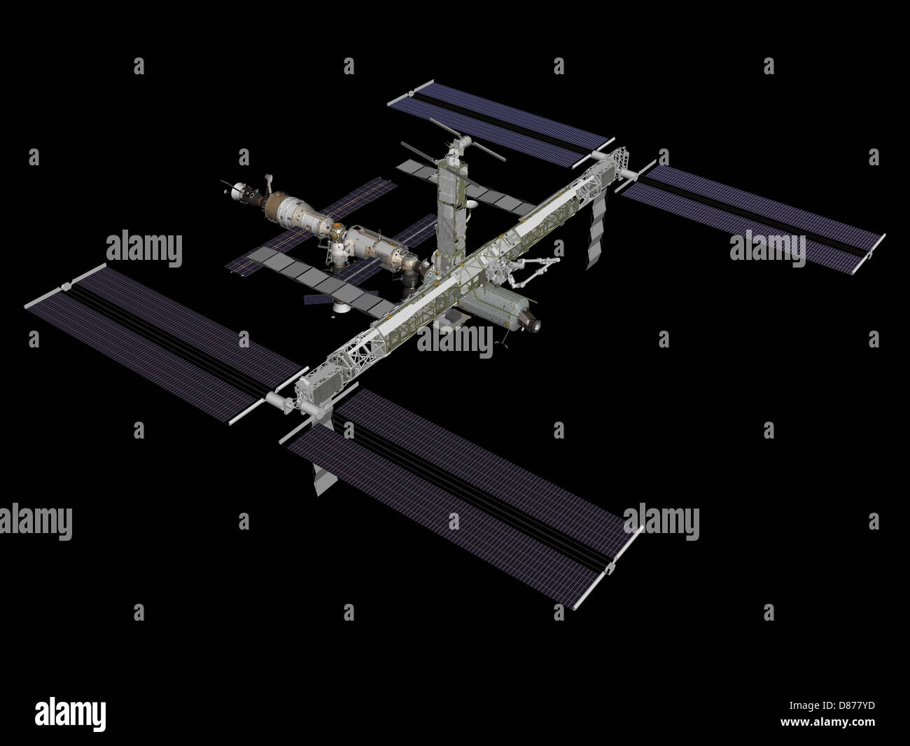 ISS after STS-117 (computer rendering of August 2006).jpg - Stock Image