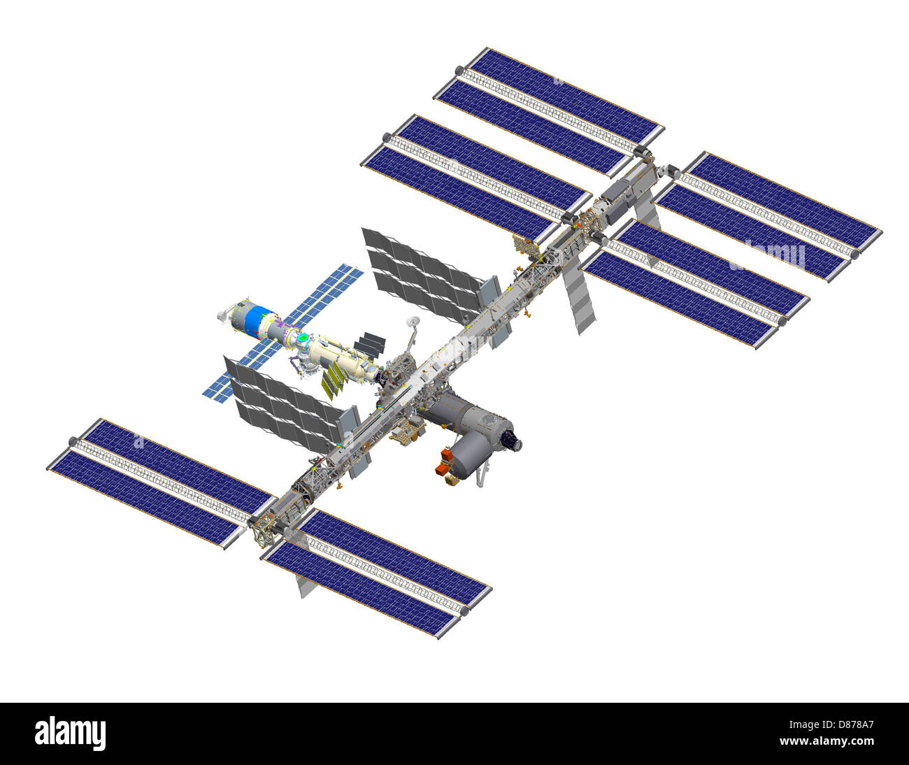 ISS after STS-122 (computer rendering of August 2006).jpg - Stock Image