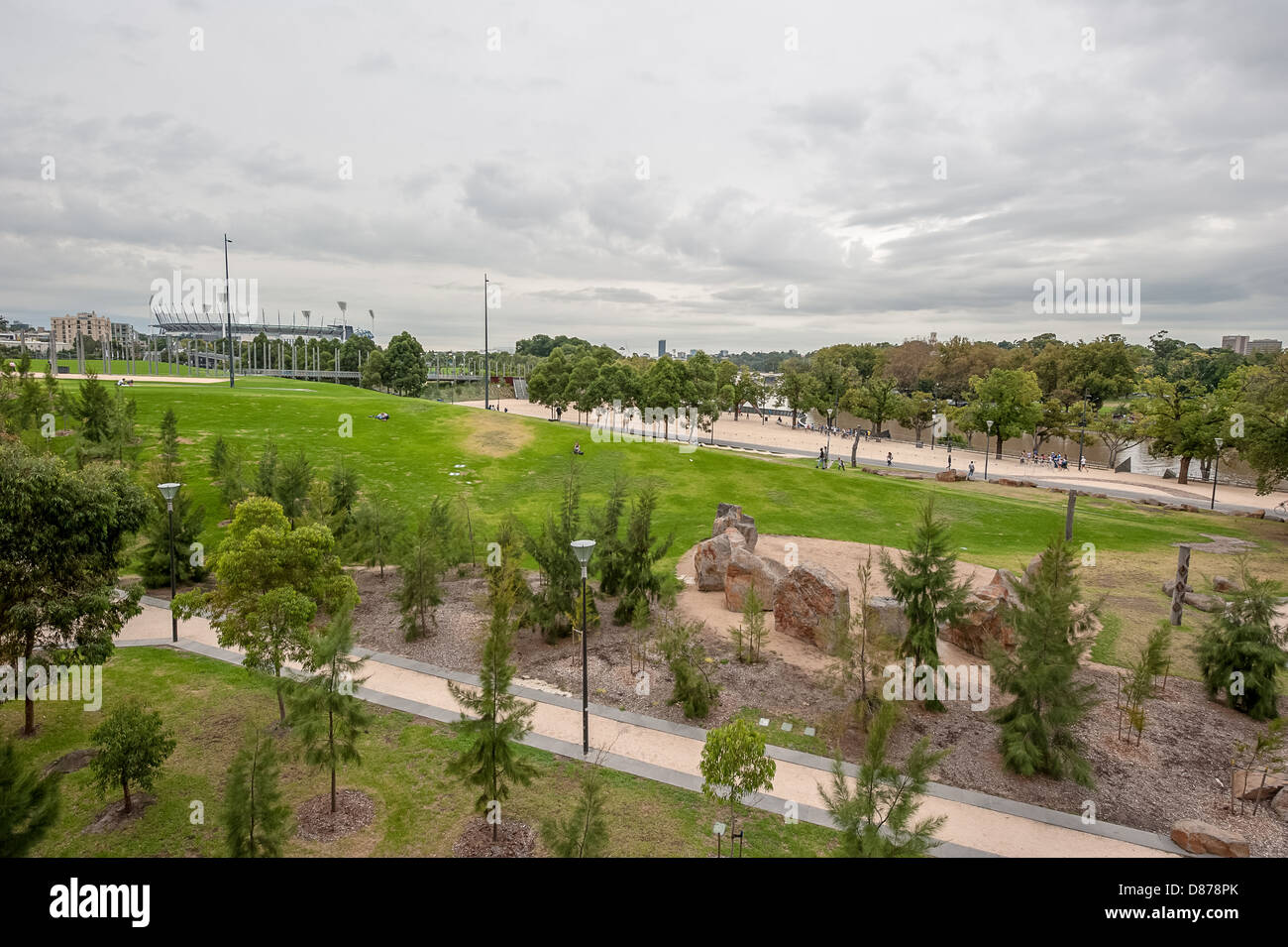 Birrarung Marr, an inner city park in downtown Melbourne next to the Yarra River. - Stock Image