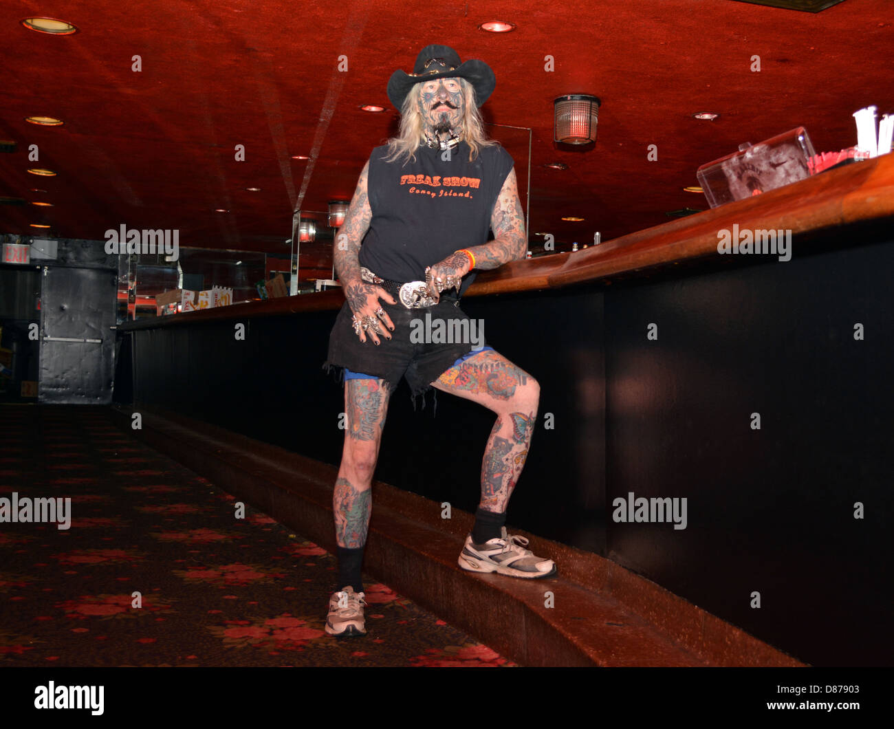 Outlaw Bobby Steele at the New York City Tattoo Convention in Manhattan. - Stock Image
