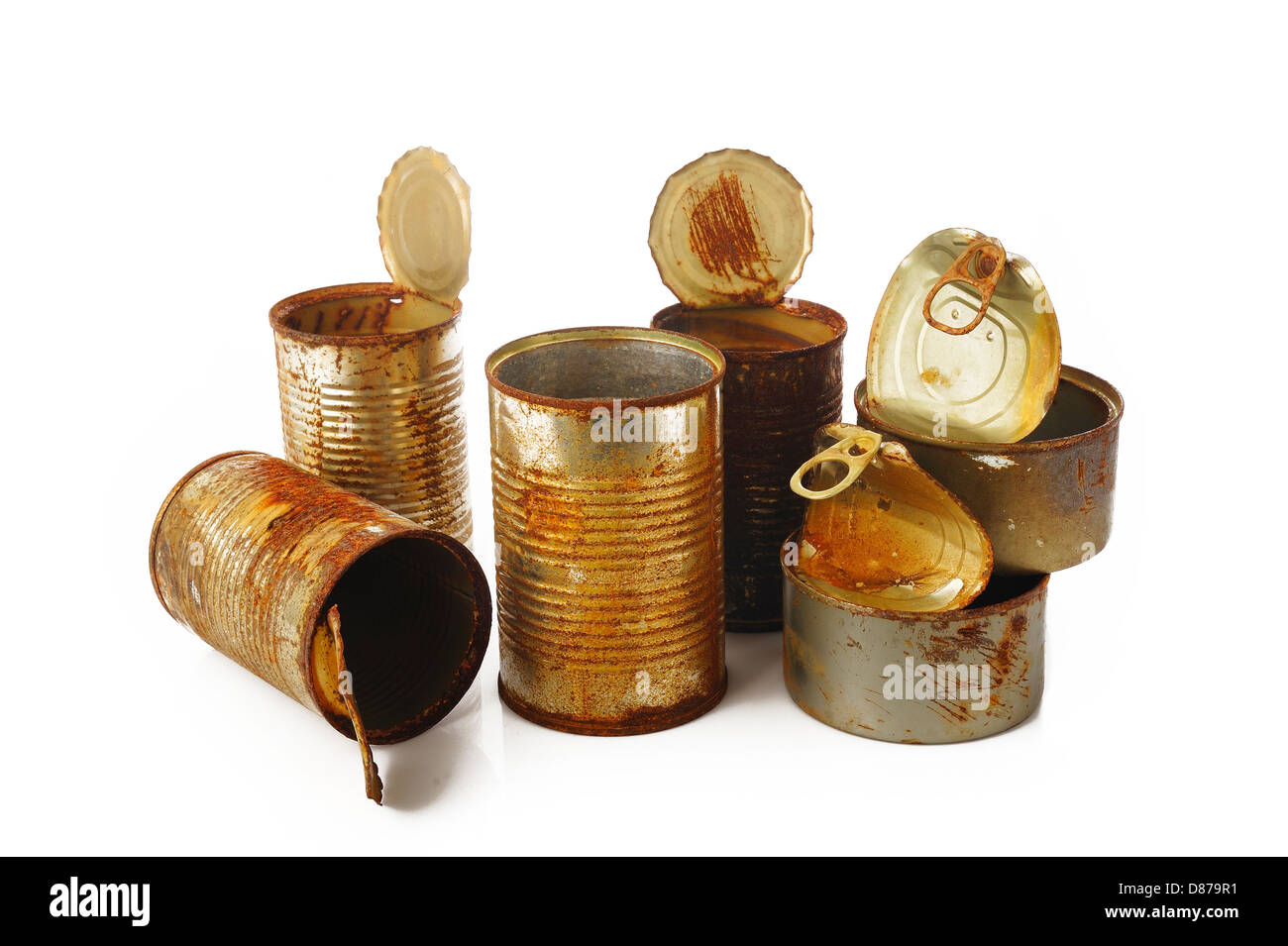 rusty tin can on white background - Stock Image