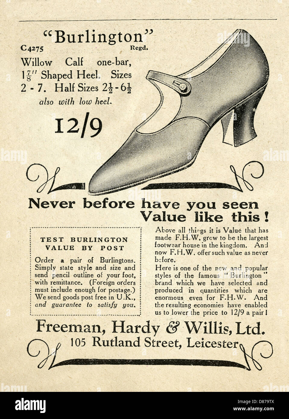 1928 advert for Freeman Hardy and Willis women's fashion shoes - the advert emphasises value for money - Stock Image