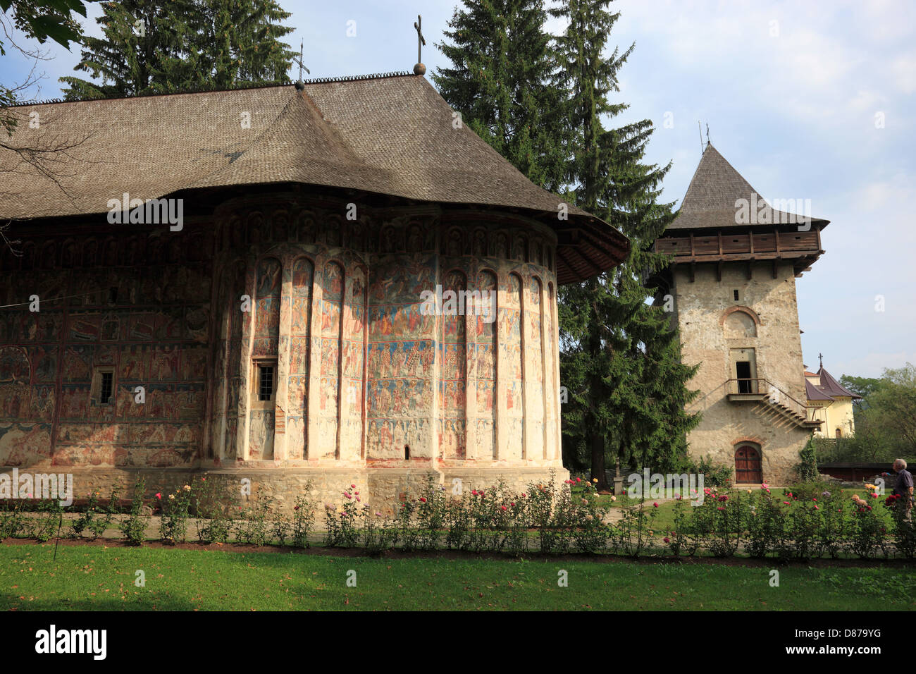 Humor Monastery located in Manastirea Humorului, about 5 km north of the town of Gura Humorului, Romania. It is - Stock Image