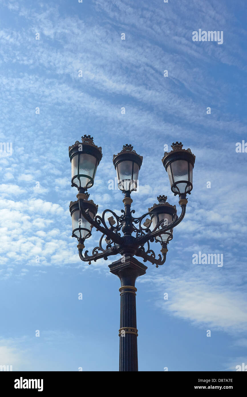 Five Lamps decorative lamp post, North Strand, Dublin.  Five lamps  is a well-known Dublin landmark  it dates from - Stock Image
