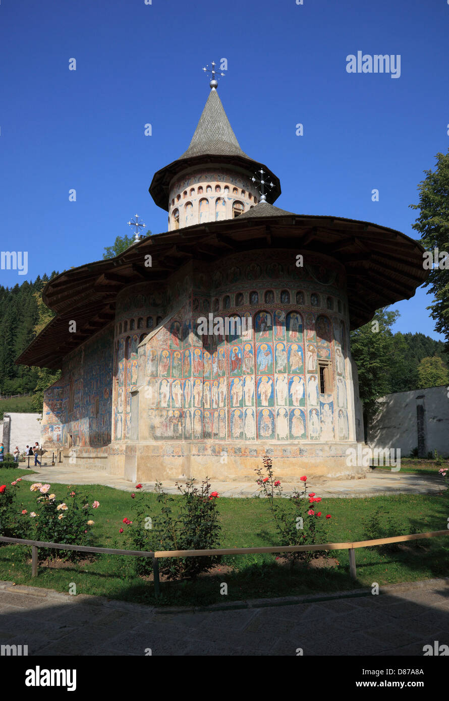 Voronet is a monastery in Romania, located in the town of Gura Humorului, Moldavia. It is one of the famous painted - Stock Image