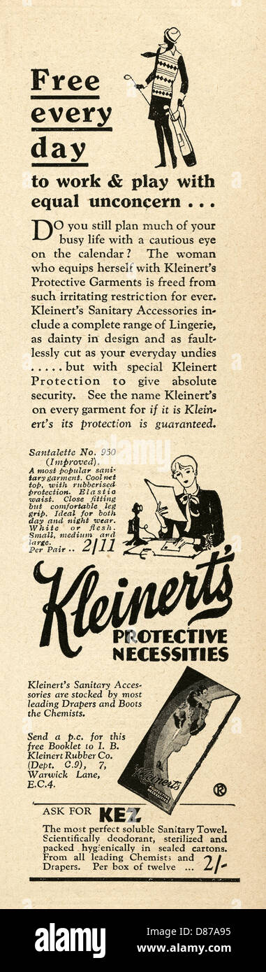 1928 advert for Kleinert's sanitary towels or pads - coyly described as 'protective necessities' - Stock Image
