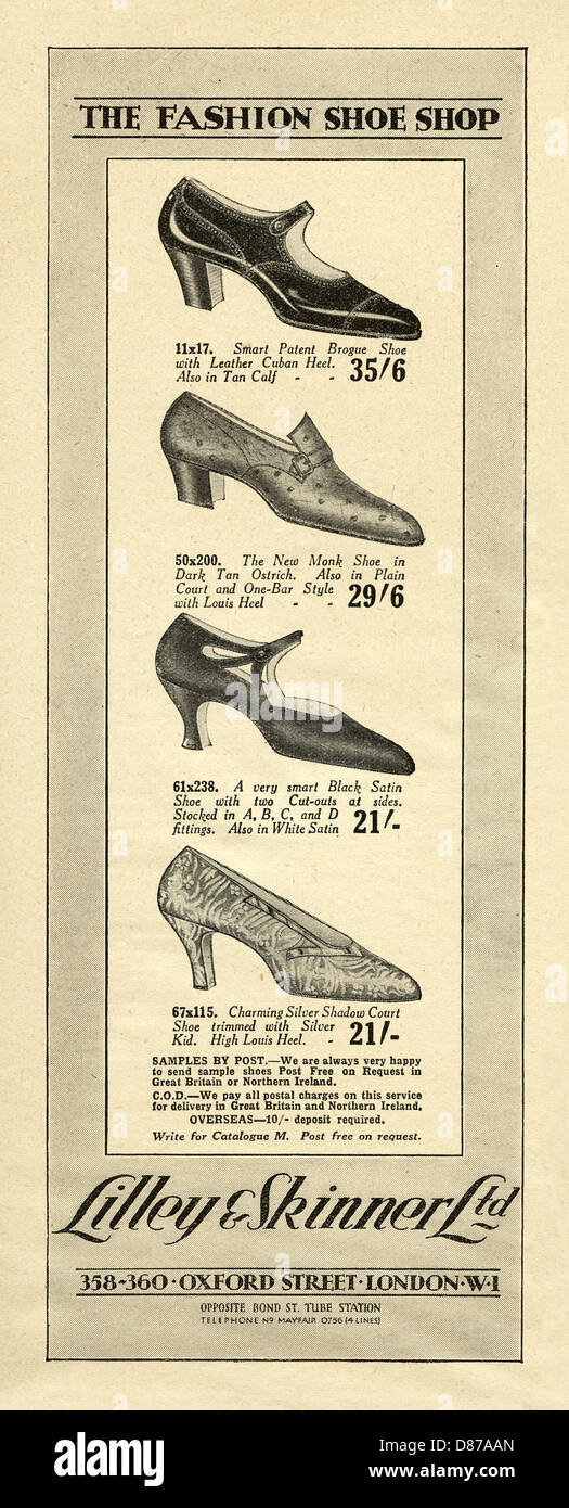 975f4b6605a1 Advert for Lilley and Skinner s women s fashion shoes. The advert appeared  in a women s magazine