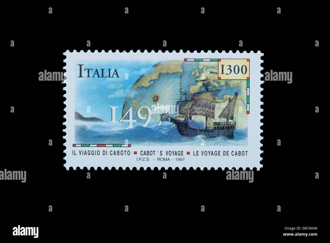 Sebastian Cabot in an italian stamp - Stock Image