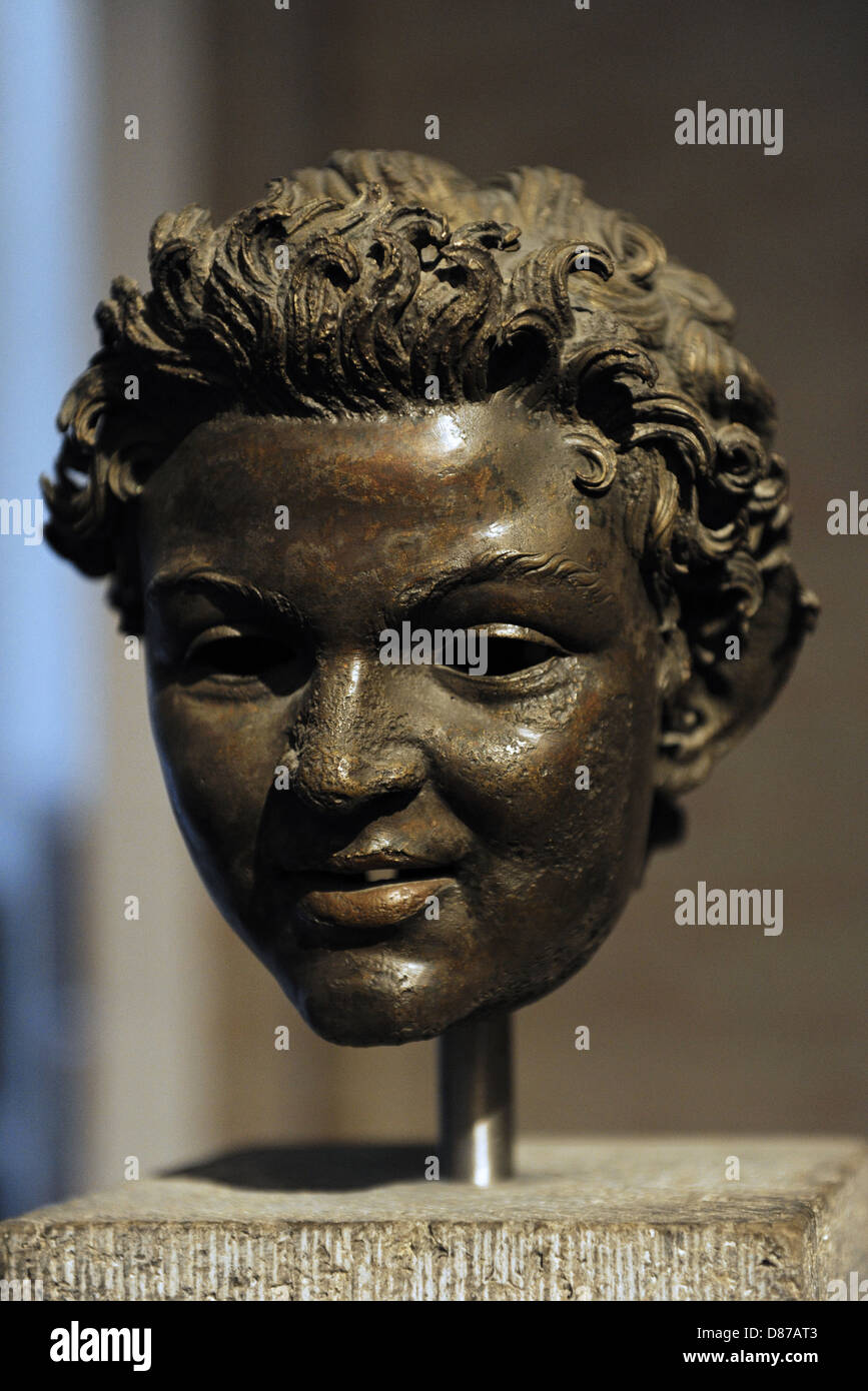 Roman Art. Bronze head from the statue of a satyr. About 100 BC. Glyptothek. Munich. Germany - Stock Image