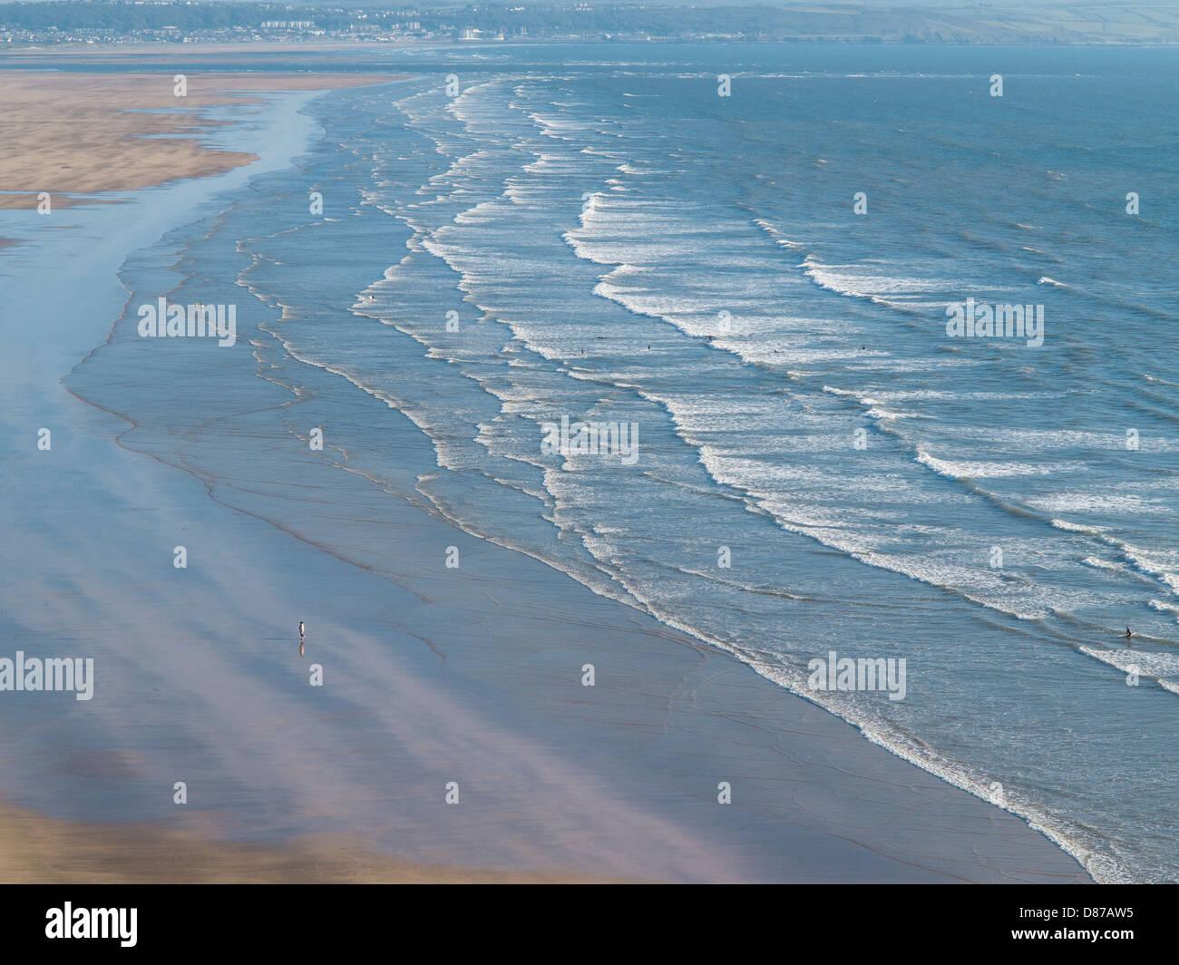 Saunton Sands beach in North Devon aerial view, Devon, England - Stock Image