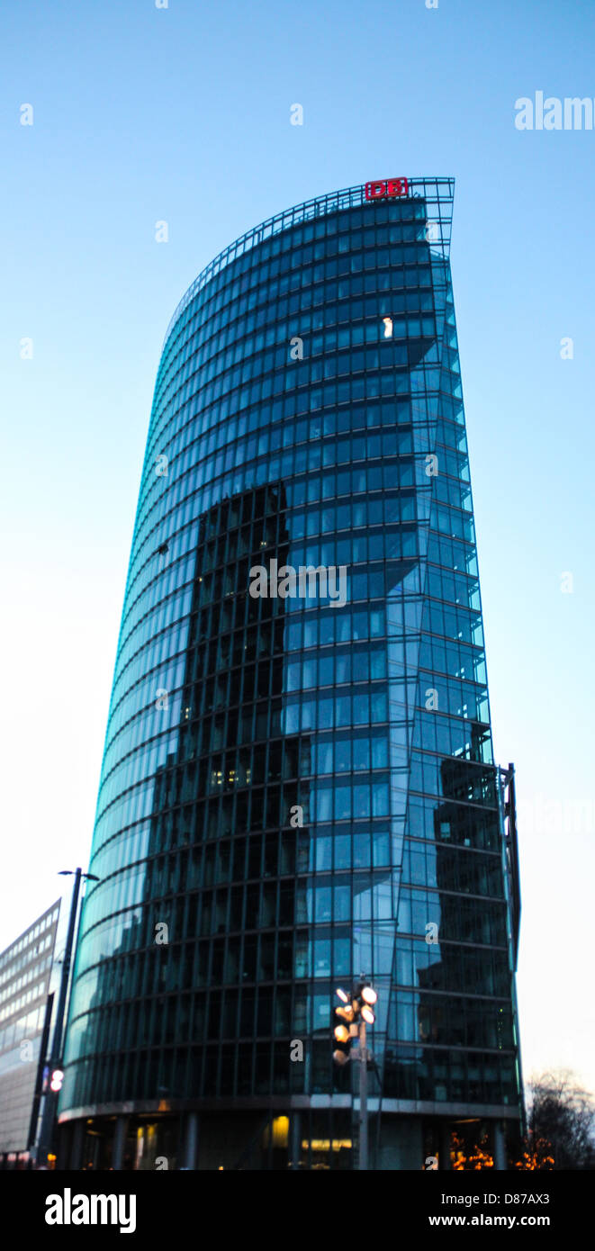 Modern skyscrapers, steel and glass, located in Potsdamer Platz in the place where before there was the Berlin Wall, Stock Photo