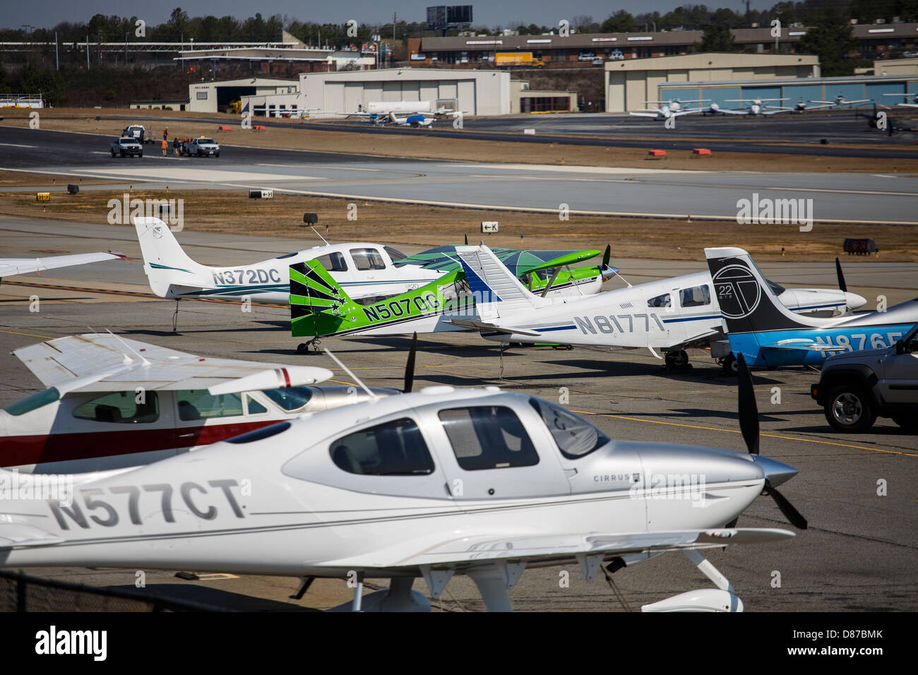 Private aircraft on the tarmac of a small regional airport - Stock Image