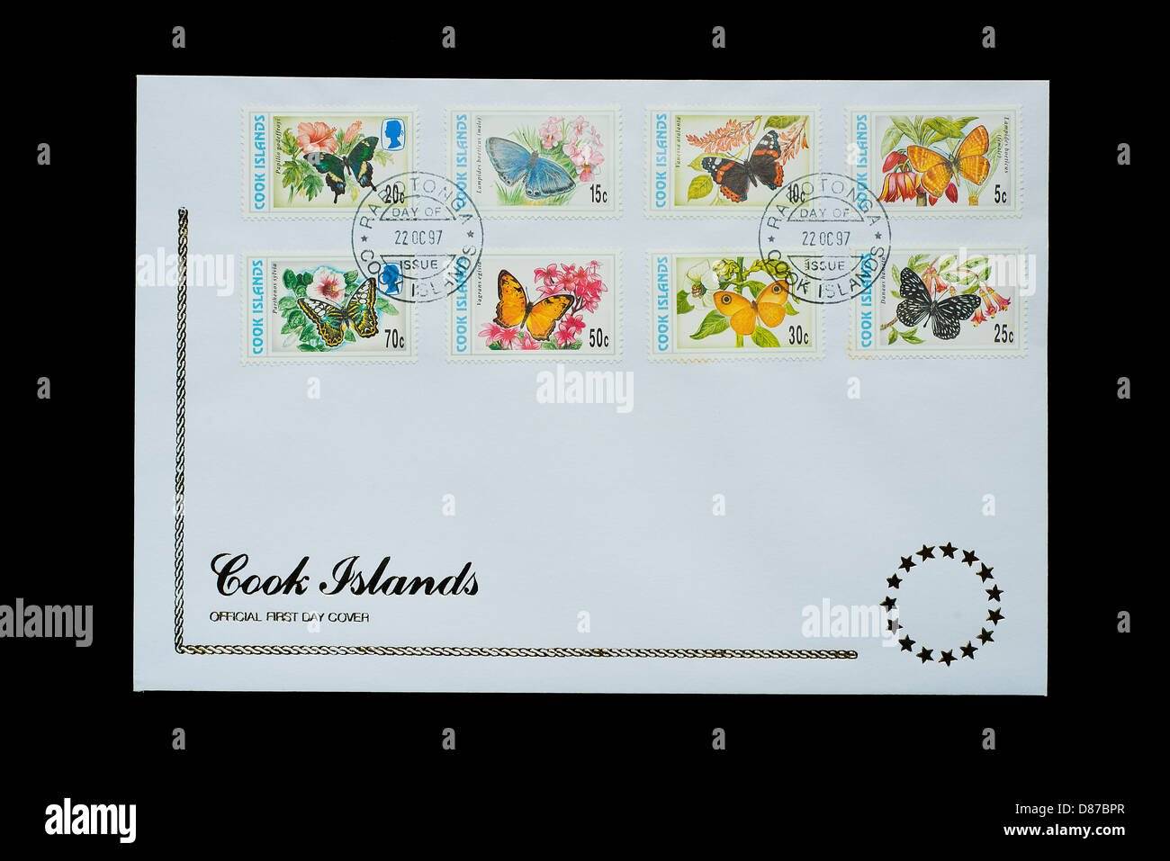 The official first day cover of stamps of Cook Islands - Stock Image