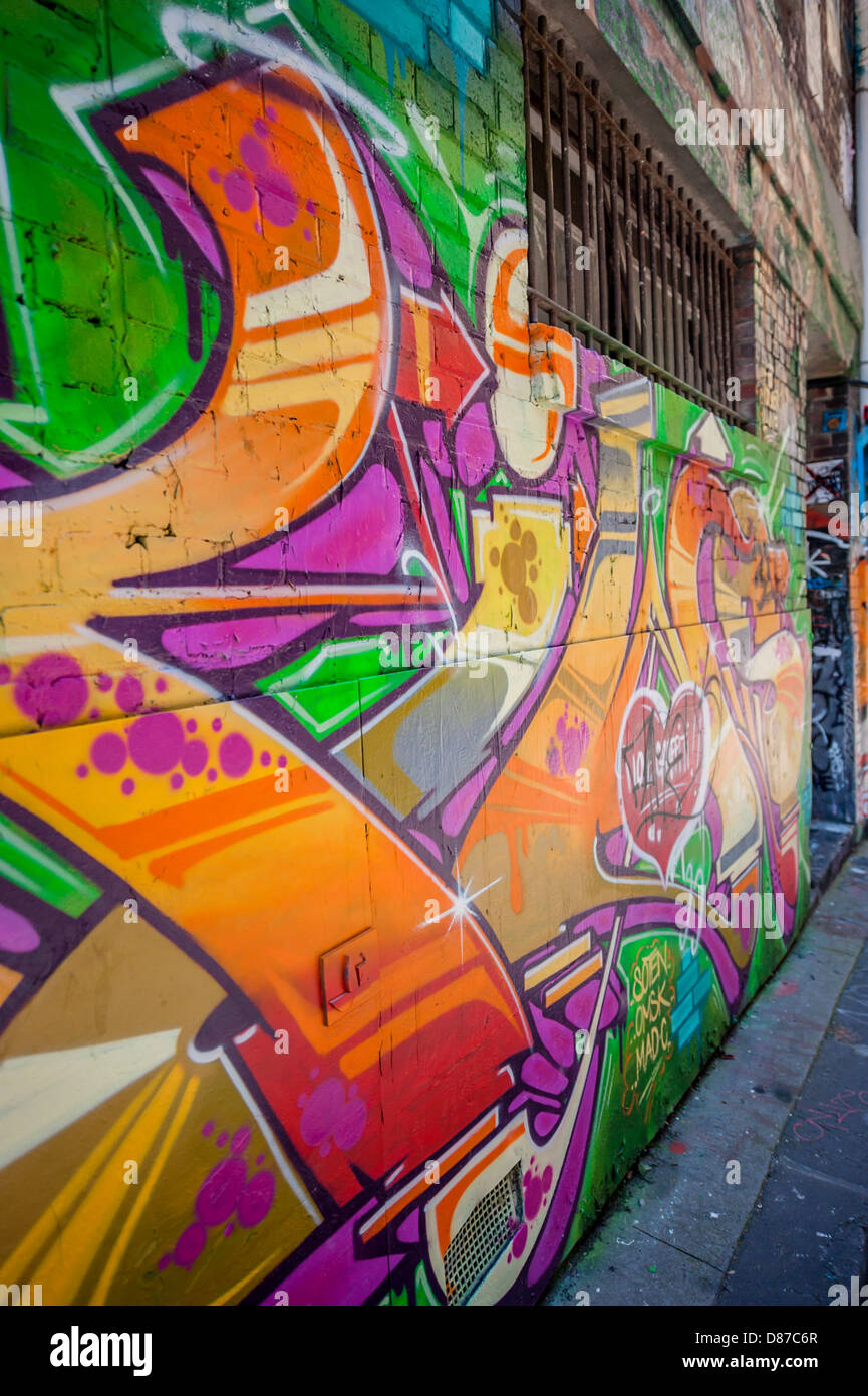 Melbourne's Hosier & Rutledge Lanes are a celebrated landmark where street artists are allowed to decorate - Stock Image